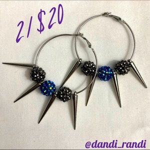 ⬇️ Spikey Rhinestone Ball Statement Hoop Earrings